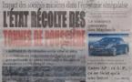 A la Une du Journal Le Quotidien du Samedi 12 janvier 2013