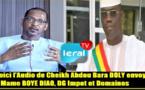 Voici l'audio que le député Bara Dolly a envoyé à Mame Boye Diao, le Directeur des Domaines