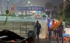 Photos: Un car « Ndiaga Ndiaye » se renverse sur la route nationale