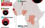 Ebola en Afrique: Nombre de cas par pays dont nombre de décès