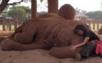La dresseuse s'agenouille près de l'éléphant dans l'enclos. Regardez ce qu'il se passe quand elle commence à chanter!