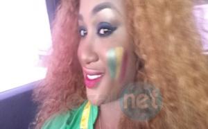 """Photos- Adja Astou de la RTS2 aux couleurs nationales pour supporter les """"Lions"""" de la Téranga !!!!"""