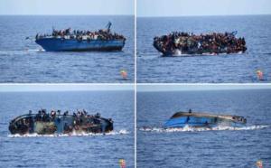 Images insoutenables : un bateau surpeuplé chavire au large de la Libye (Vidéo)