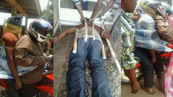 Photos: Incroyable, on transporte des cadavres à moto au Congo