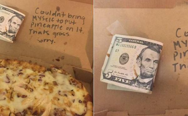 Un serveur refuse de mettre de l'ananas sur la pizza d'une cliente et lui rend son argent