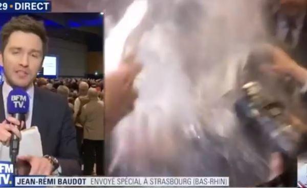 François Fillon a été enfariné à Strasbourg, regardez