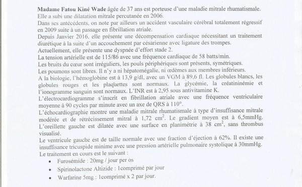 Fatou Kiné Wade (37 ans), nécessitant d'urgence une prothèse mécanique cardiaque, sollicite l'aide de Marième Faye Sall et des bonnes volontés