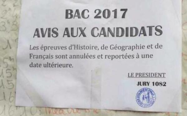 Voici la note annonçant l'annulation des épreuves d'Histoire, de Géographie et de Français