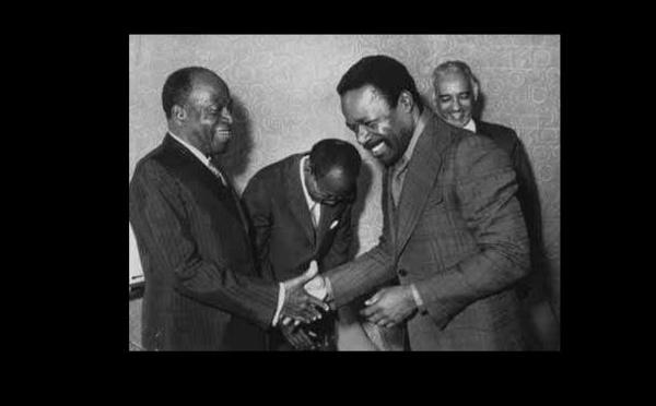Oumar Bongo, Houphouët Boigny, Léopold Senghor et Ould Daddah à Lagos (Nigeria) en 1975