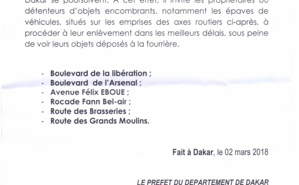 Communiqué du préfet de Dakar : la décongestion des axes routiers desservant le Port de Dakar, se poursuit