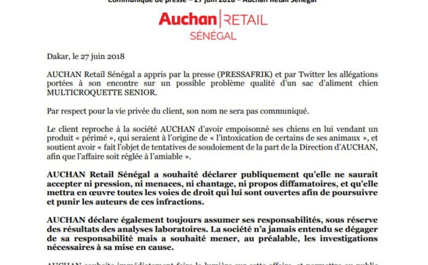 AUCHAN Retail Sénégal apporte la réplique suite aux accusations de vente de croquettes périmées pour chiens