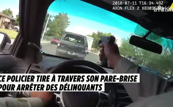 Lors d'une course-poursuite, ce policier tire à travers son pare-brise comme dans les films