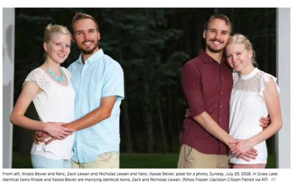 Des jumeaux se marient avec une paire de jumelles à un jour d'intervalle
