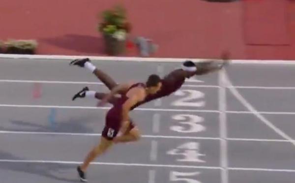VIDEO-Cet athlète remporte un 400 mètres haies grâce à un plongeon