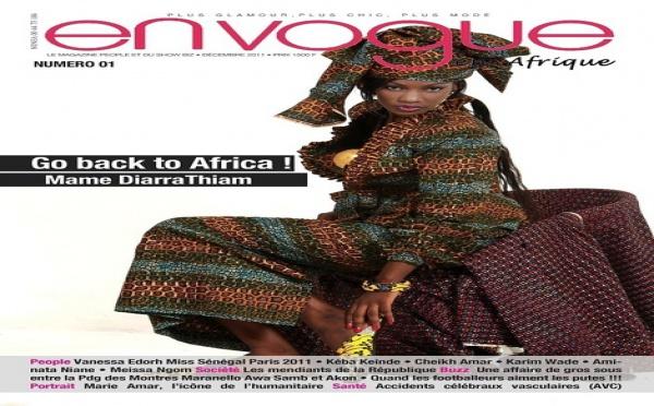 Mame Diarra Thiam à la une du nouveau magazine people glamour En Vogue l'Afrique lancé par Paco Jackson Thiam