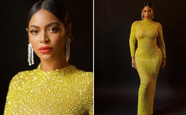 Beyoncé sublime en longue robe jaune à sequins