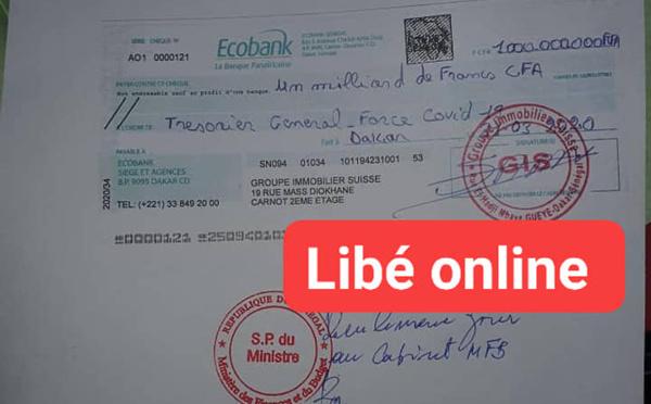 DOCS/EXCLUSIVITE/FORCE-COVID-19 : Le chèque d'un milliard remis par Tahirou Sarr