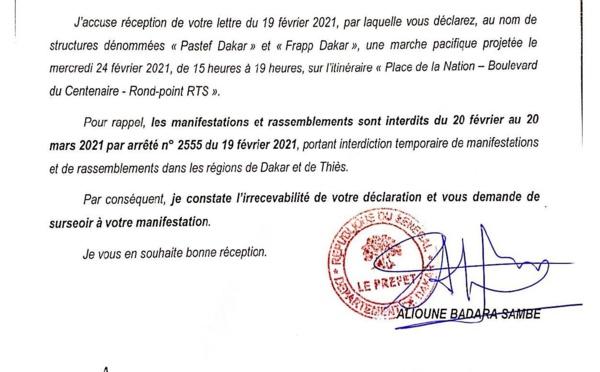 Lutte contre le Coronavirus : Le préfet de Dakar interdit toute manifestation