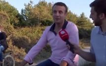 """""""Quotidien"""" poursuit Emmanuel Macron sur une piste cyclable, et décroche enfin son interview !"""