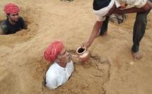 Inde: les fermiers s'enterrent jusqu'au cou pour sauver leurs terres