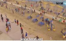 Les Sénégalais se mettent au fitness sur le parcours sportif de la Corniche (vidéo filmée par le drone de leral.net)