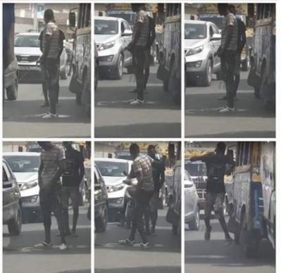 Indiscipline des Sénégalais: En pleine circulation, cet apprenti de car rapid... urine sur le bitume !